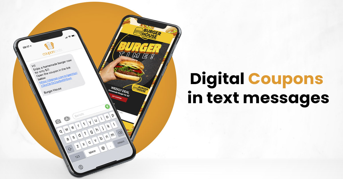 Digital coupon campaigns distributed with SMS / text messaging marketing
